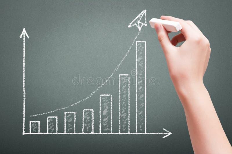 Entregue o desenho com conceito do gráfico do crescimento do negócio do giz imagens de stock royalty free