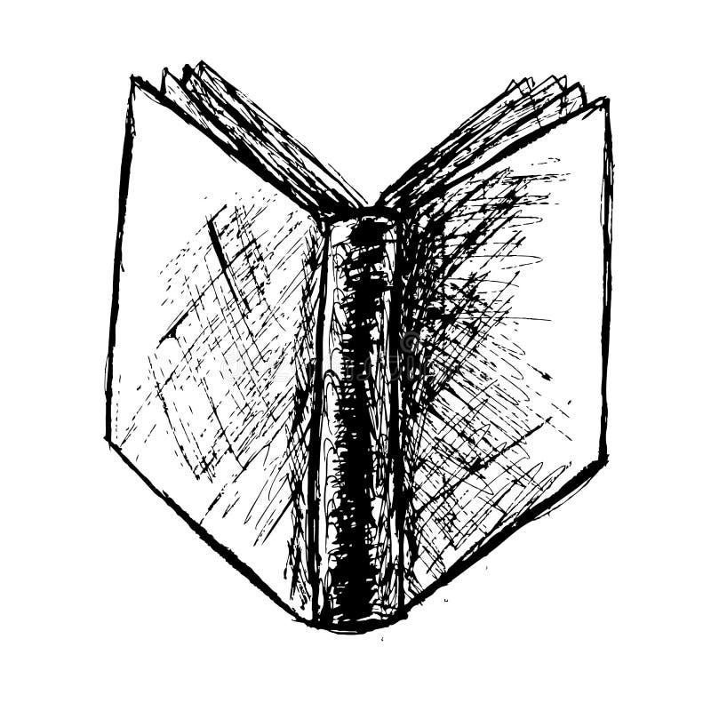Entregue o esboço da tração do livro isolado no branco ilustração royalty free