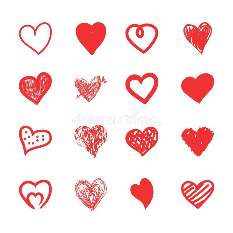 Entregue o esboço dos corações, o grunge e o grupo tirados da garatuja Formas vermelhas isoladas do amor no fundo branco ilustração royalty free