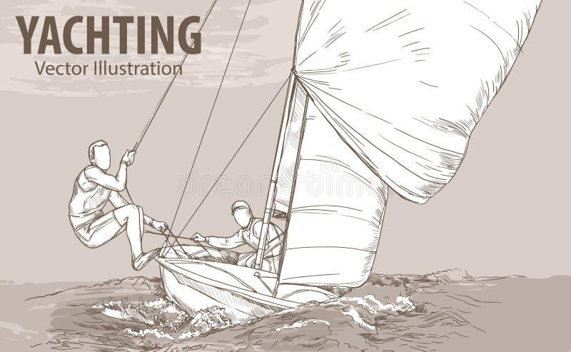 Entregue o esboço dos povos no barco de navigação no mar Ilustração do esporte do vetor Silhueta gráfica do iate no fundo ilustração royalty free