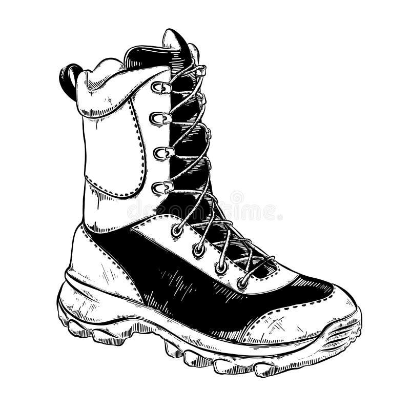 Entregue o esboço tirado da bota no preto isolada no fundo branco Desenho detalhado do estilo do vintage Ilustração do vetor ilustração do vetor