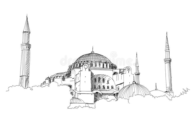 Entregue o esboço tirado da mesquita azul mundialmente famosa com texto de Ramadan Kareem, Istambul na ilustração do vetor ilustração royalty free