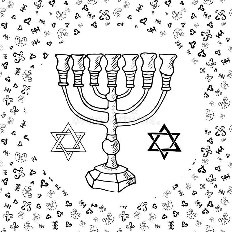 Entregue o esboço tirado de símbolos religiosos judaicos tradicionais do menorah, Rosh Hashanah, Hanukkah, Shana Tova, ilustração ilustração stock