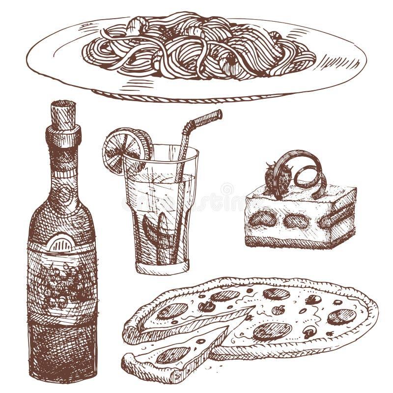 Entregue o esboço tirado do alimento para o produto do restaurante do menu e rabiscar a ilustração do vetor da culinária da refei ilustração stock