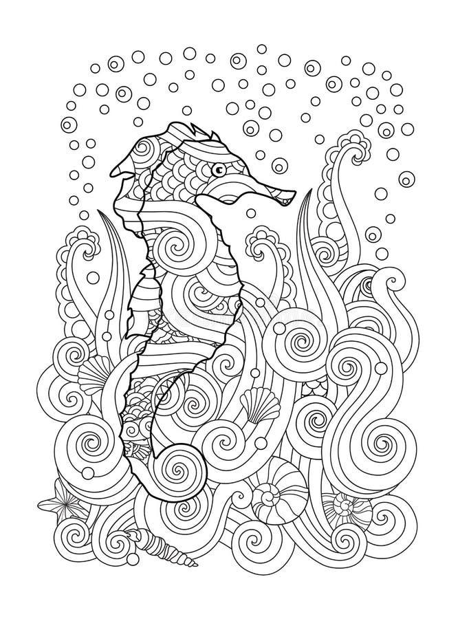 Entregue o esboço tirado do cavalo marinho sob o mar no estilo inspirado zentangle ilustração royalty free