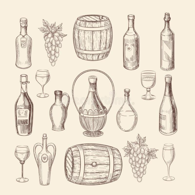 Entregue o esboço tirado do vinhedo e rabiscar elementos do vetor do vinho ilustração do vetor