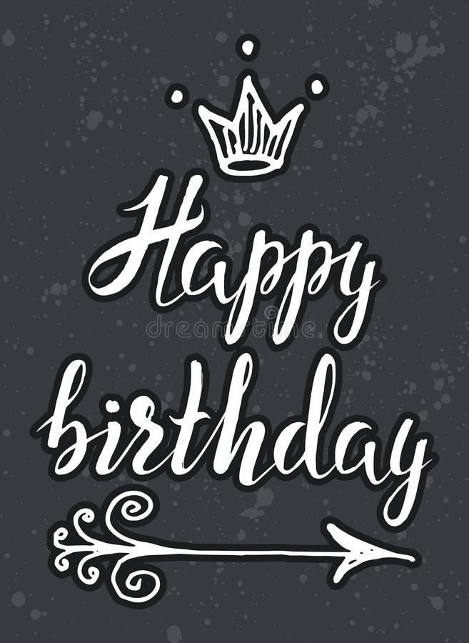 Entregue o esboço tirado, mão tirada rotulando o feliz aniversario com seta e coroa no fundo cinzento ilustração royalty free