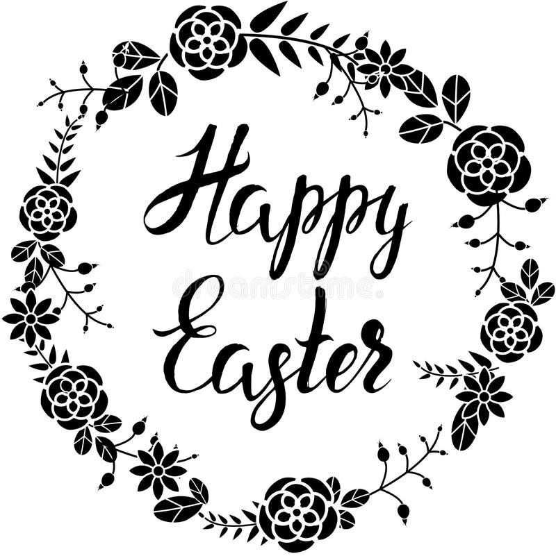 Entregue o esboço tirado, rotulando a Páscoa feliz no quadro da flor ilustração do vetor