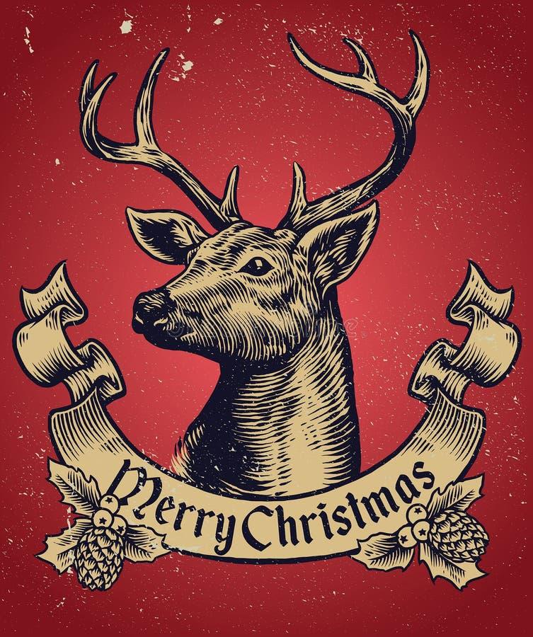 Entregue o estilo do desenho de cervos do Natal com bandeira do texto ilustração do vetor