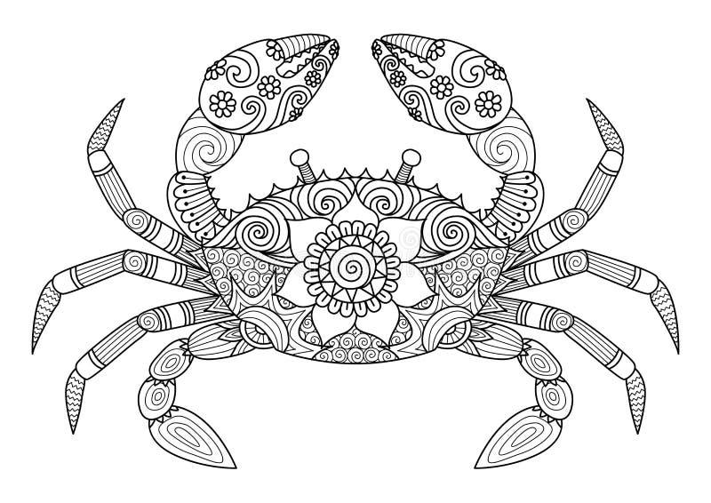 Entregue o estilo tirado do zentangle do caranguejo para o livro para colorir para o adulto ilustração royalty free