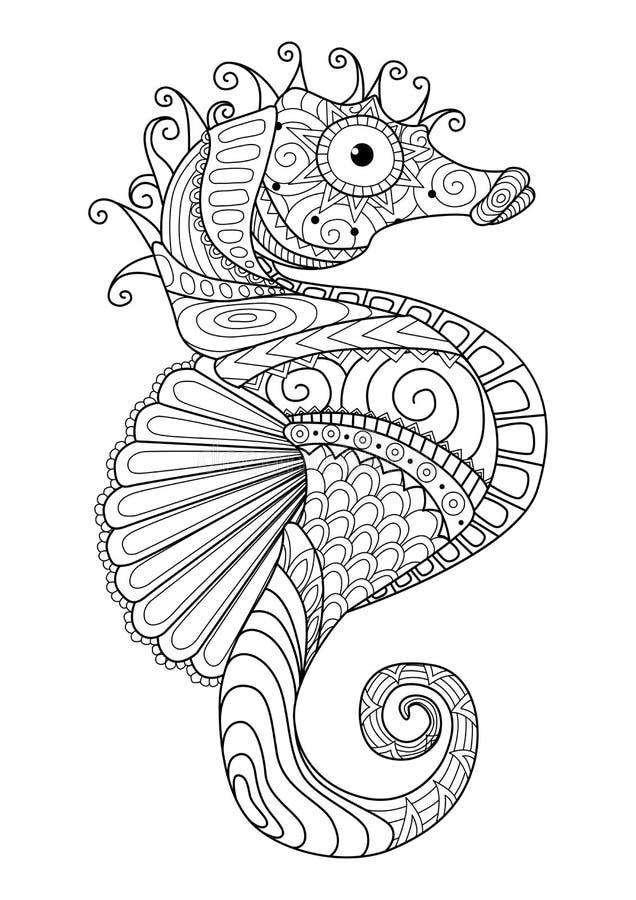 Entregue o estilo tirado para a página colorindo, efeito do zentangle do cavalo de mar do projeto da camisa de t, tatuagem do log ilustração royalty free