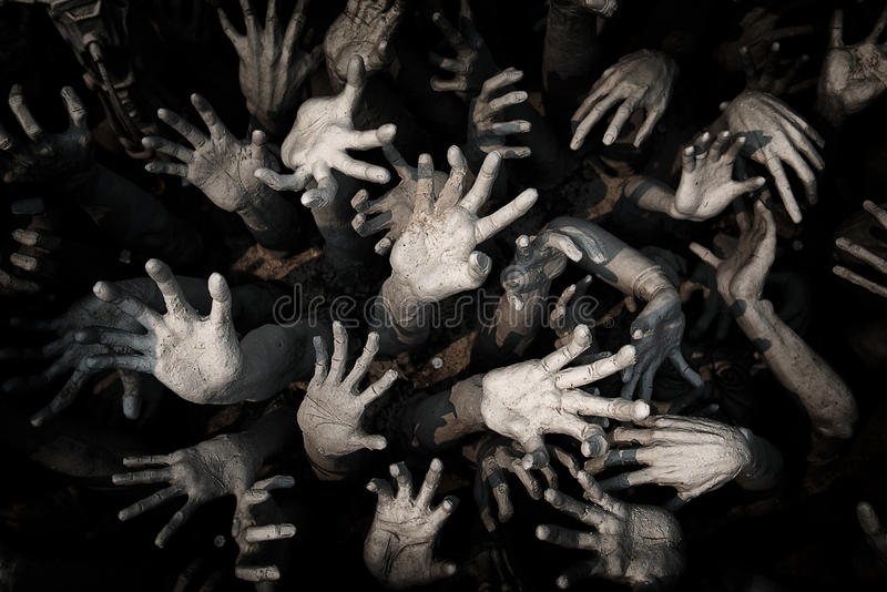Entregue o fantasma, mãos ensanguentados fundo do zombi, maníaco, zombi h do sangue foto de stock