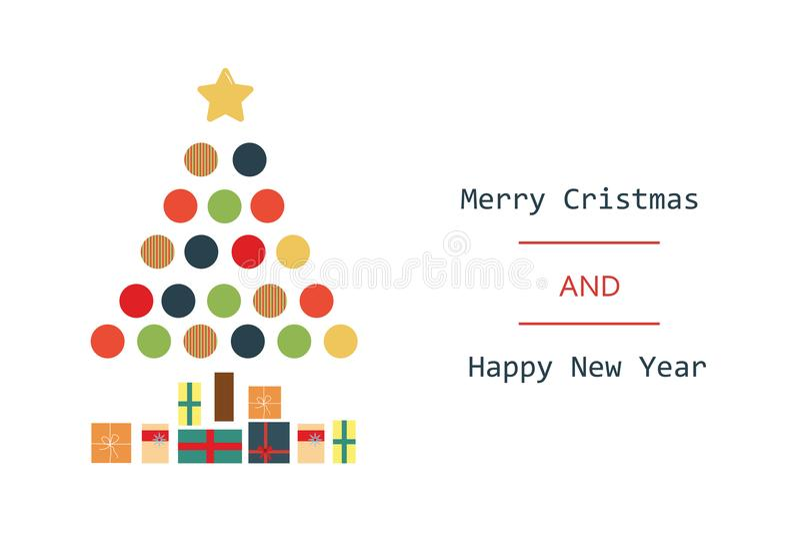 Entregue o Feliz Natal tirado do sumário do vetor e ilustrações novas felizes dos desenhos animados do vintage do ano ilustração stock