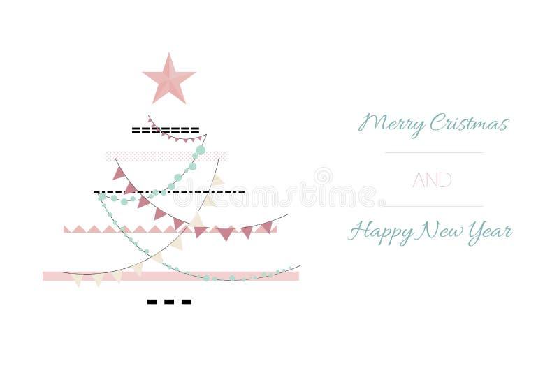 Entregue o Feliz Natal tirado do sumário do vetor e o molde novo feliz do cartão das ilustrações dos desenhos animados do vintage ilustração do vetor