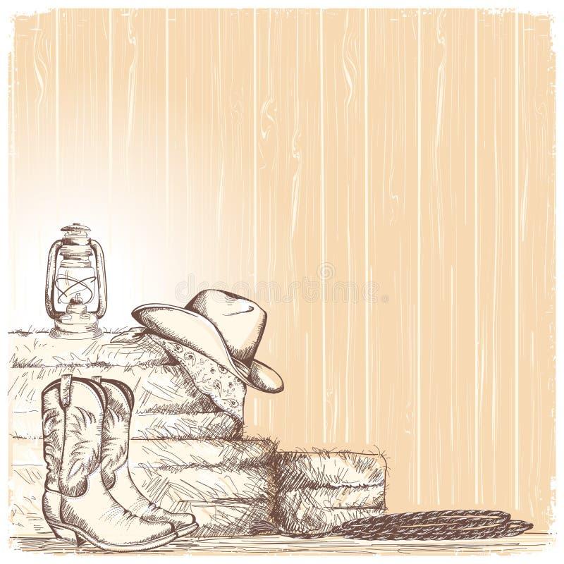 Entregue o fundo do vaqueiro da tração com botas ocidentais e o chapéu ocidental em r ilustração royalty free