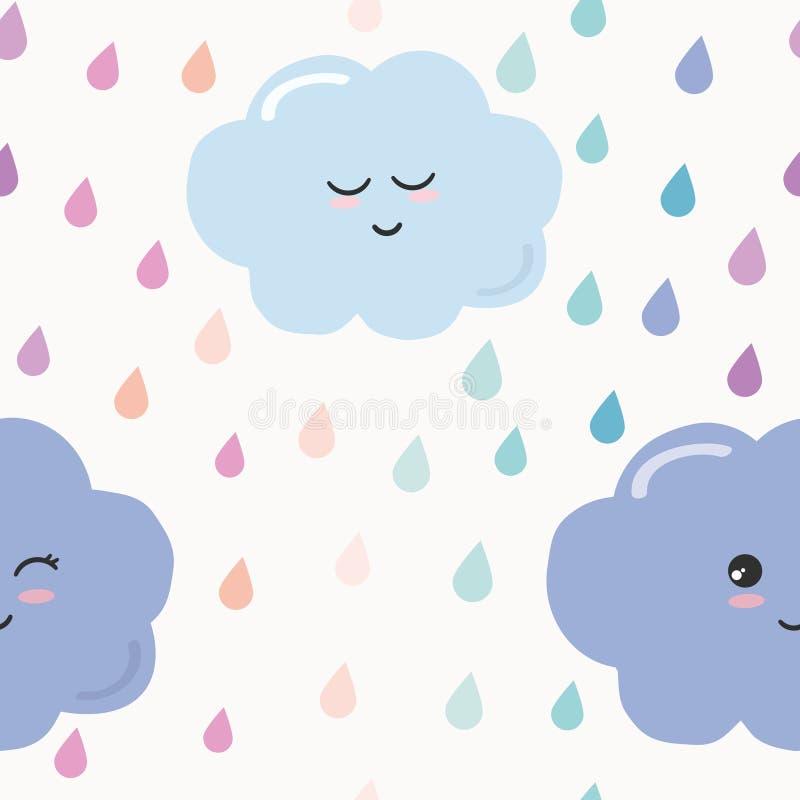 Entregue o fundo sem emenda tirado do teste padrão com gotas coloridas e nuvens da aquarela para crianças Projeto de Kawaii ilustração royalty free