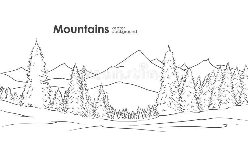 Entregue o fundo tirado do esboço das montanhas com a floresta do pinho no primeiro plano Linha projeto ilustração royalty free