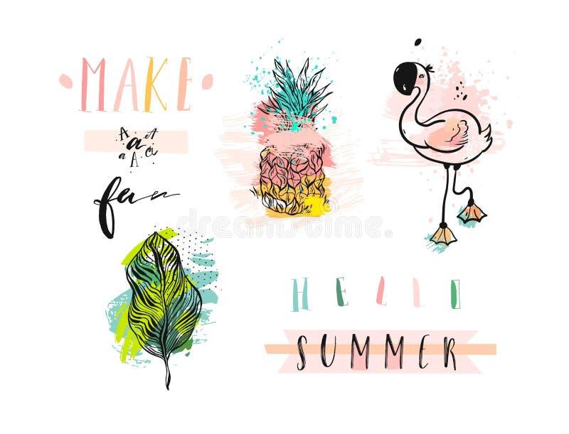 Entregue o grupo de elementos tirado das férias de verão do sumário do vetor com flamingo cor-de-rosa, folhas de palmeira tropica ilustração stock