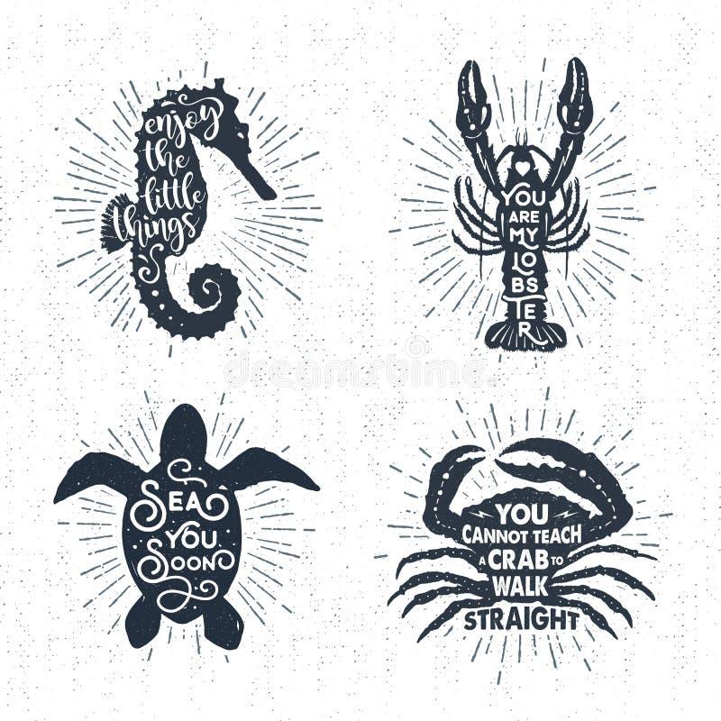 Entregue o grupo de etiquetas textured tirado do vintage com ilustrações do vetor foto de stock