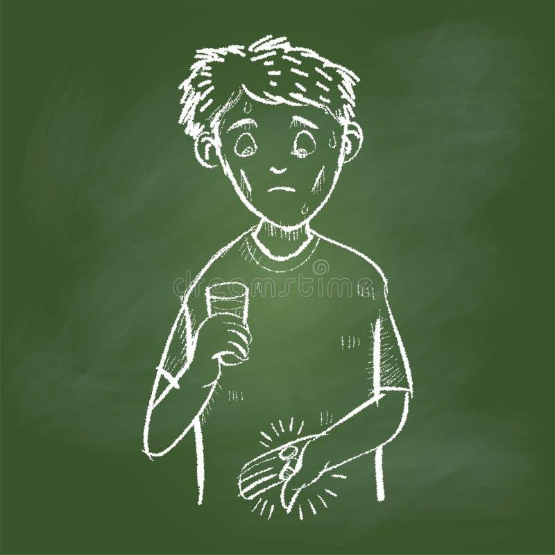 Entregue o homem doente de tiragem na placa verde - Vector a ilustração ilustração stock