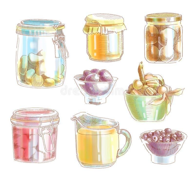 Entregue o ingrediente de alimento desenhado ilustração stock