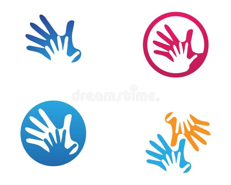 Entregue o logotipo da ajuda e os ícones app do molde dos símbolos ilustração stock