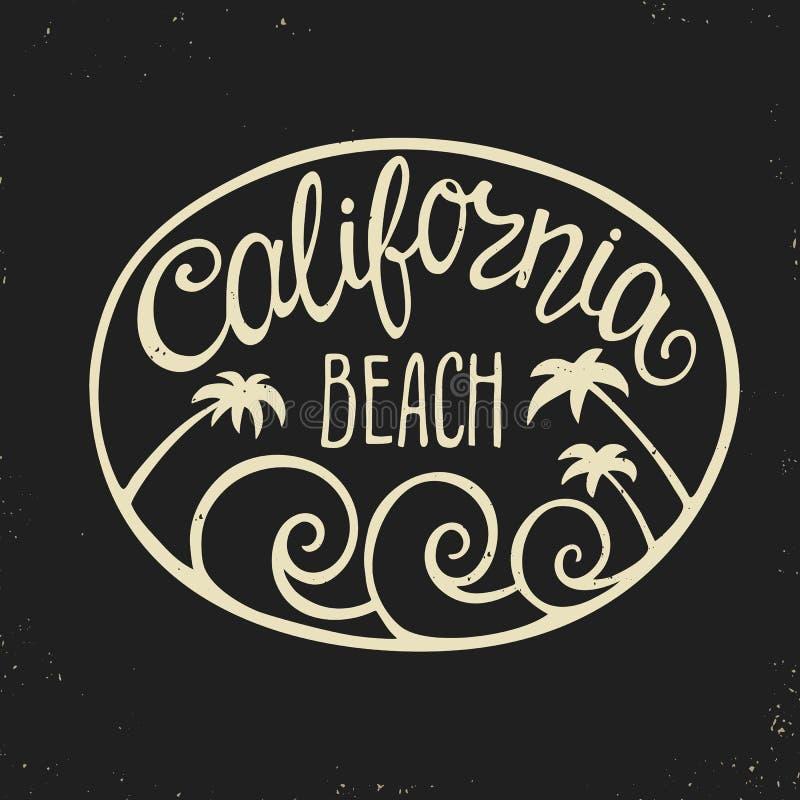 Entregue o logotipo da rotulação com a praia de Califórnia da inscrição ilustração stock
