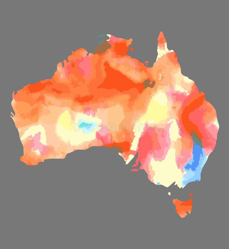 Entregue o mapa tirado da aquarela de Austrália isolou-se no branco ilustração royalty free