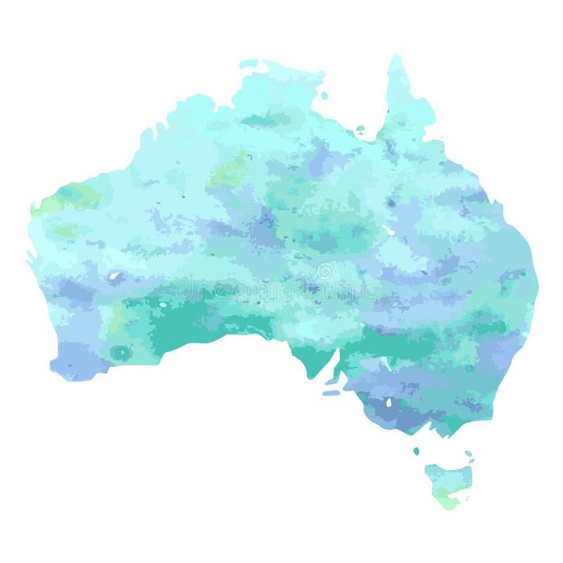Entregue o mapa tirado da aquarela de Austrália isolou-se no branco ilustração stock