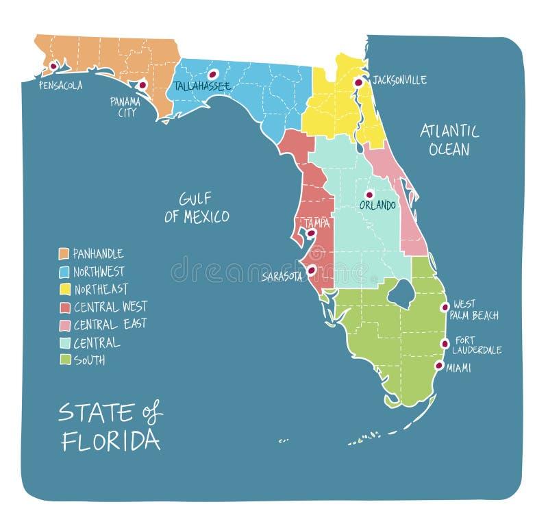 Entregue o mapa tirado de Florida com regiões e condados ilustração do vetor
