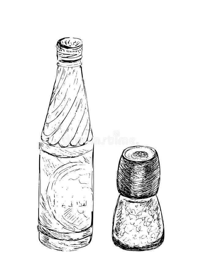Entregue o moinho tirado de sal e de pimenta, o abanador, o moedor e a garrafa da água Ilustração do esboço do vetor isolada no f ilustração royalty free
