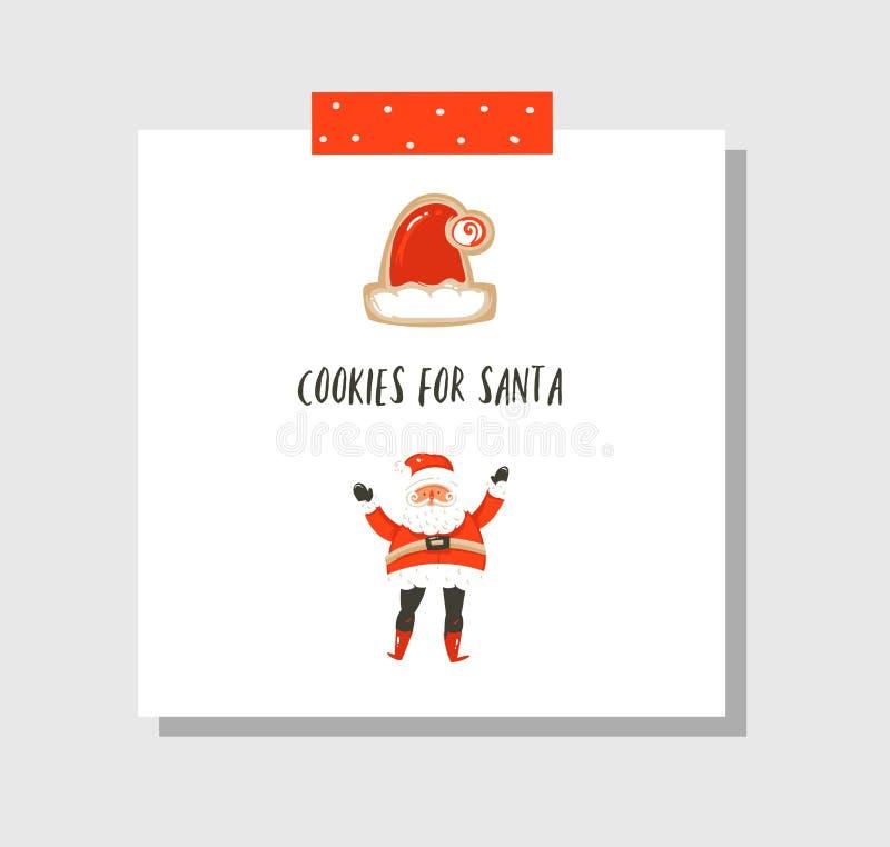 Entregue o molde tirado do cartão dos desenhos animados do tempo do Feliz Natal do divertimento do sumário do vetor com as cookie ilustração do vetor