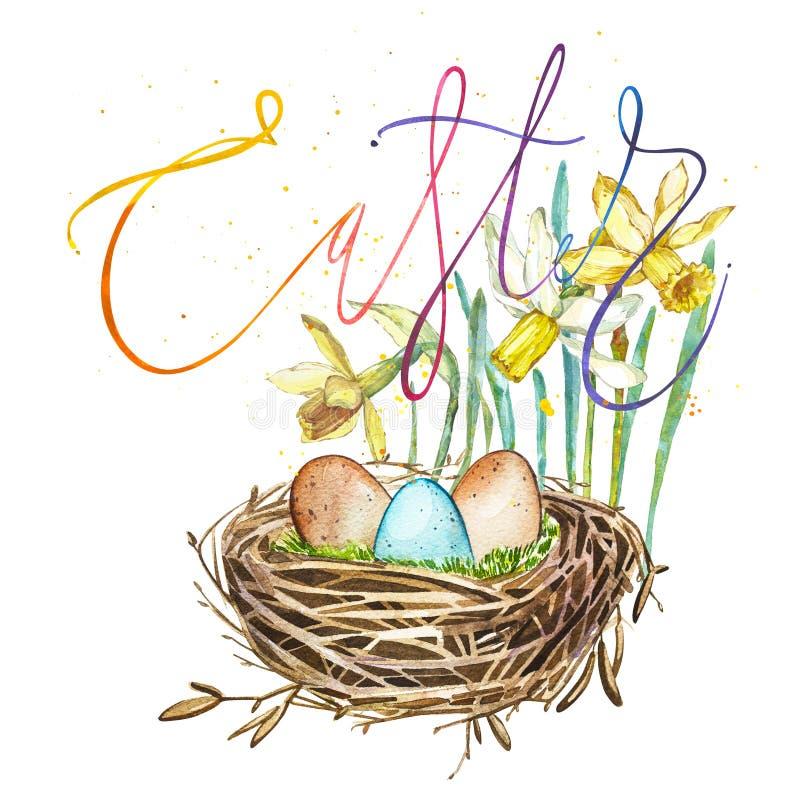Entregue o ninho tirado do pássaro da arte da aquarela com ovos e flores da mola, palavra-Páscoa Ilustração isolada no branco ilustração do vetor