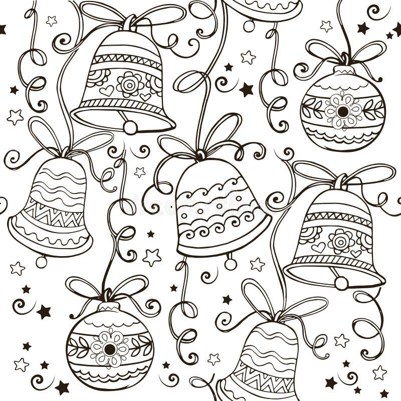 Entregue o ornamento tirado com os sinos de Natal para a anti página da coloração do esforço Ornamento do vetor com sinos de Nata ilustração royalty free