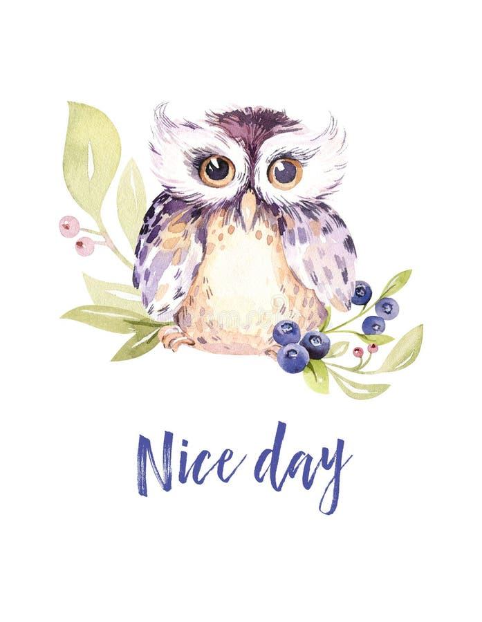 Entregue o pássaro e ovos de tiragem dos desenhos animados do voo da aquarela de easter com folhas, ramos e penas Arte da mola do ilustração stock