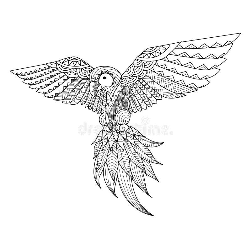 Entregue o papagaio tirado do zentangle para o livro para colorir, tatuagem, projeto da camisa, logotipo e assim por diante ilustração do vetor