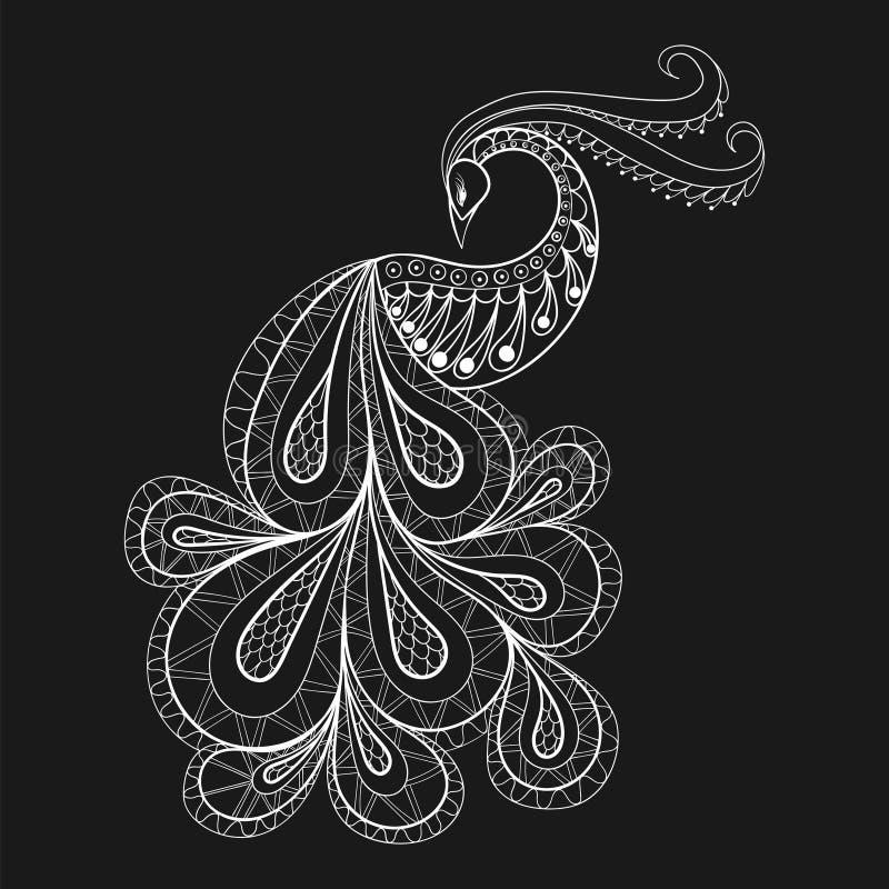 Entregue o pavão tirado para a página antistress da coloração com detai alto ilustração do vetor