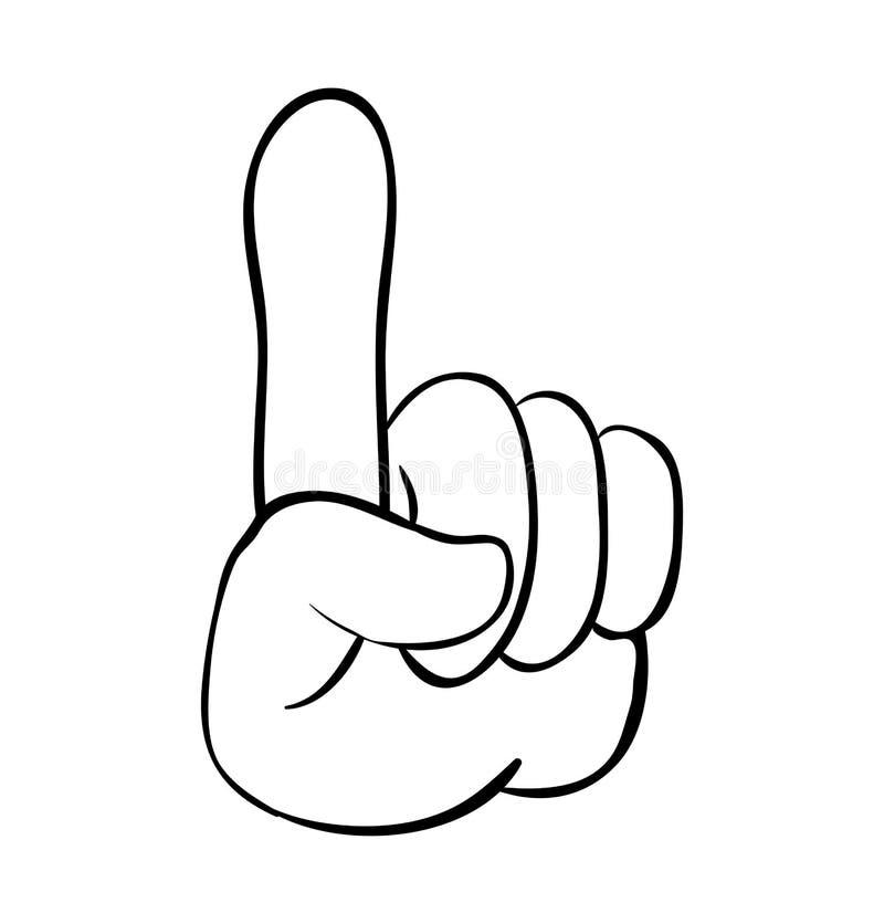Entregue o ponteiro, dedo acima do projeto do ícone do símbolo do vetor dos desenhos animados beau ilustração stock