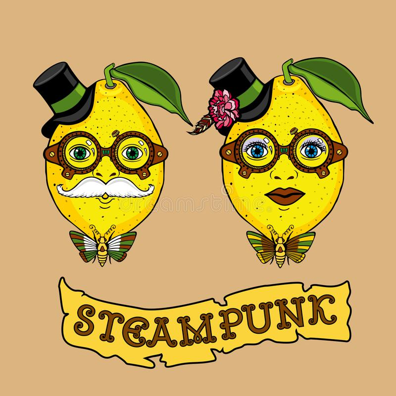 Entregue o projeto criativo de tiragem com senhor e falte o limão no estilo do steampunk ilustração royalty free