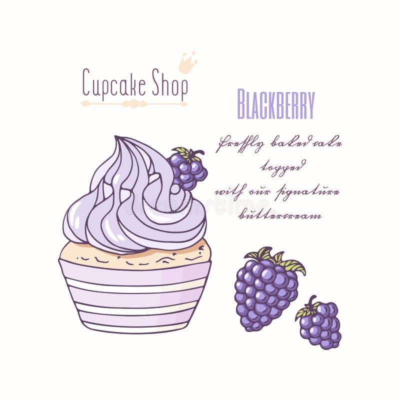 Entregue o queque tirado com buttercream da garatuja para o menu da loja de pastelaria Sabor de Blackberry ilustração stock