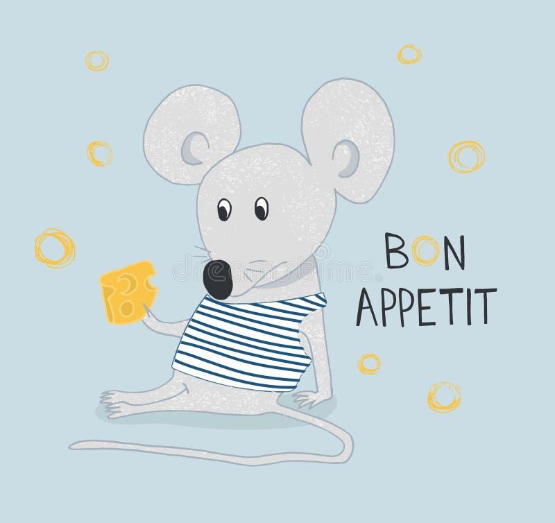 Entregue o rato engraçado tirado com queijo com a mão tirada rotulando o apetite do bon Pode ser usado para o projeto do t-shirt ilustração do vetor