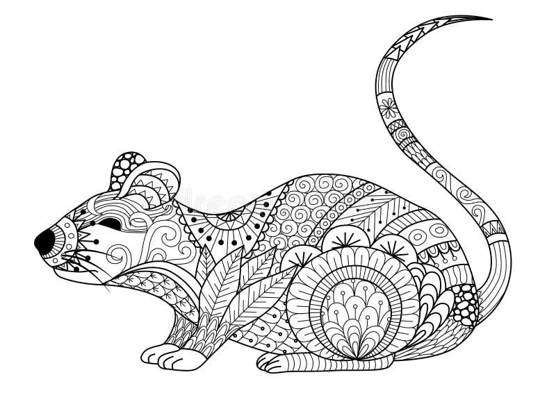Entregue o rato tirado do zentangle para o livro para colorir para o adulto e as outras decorações ilustração stock