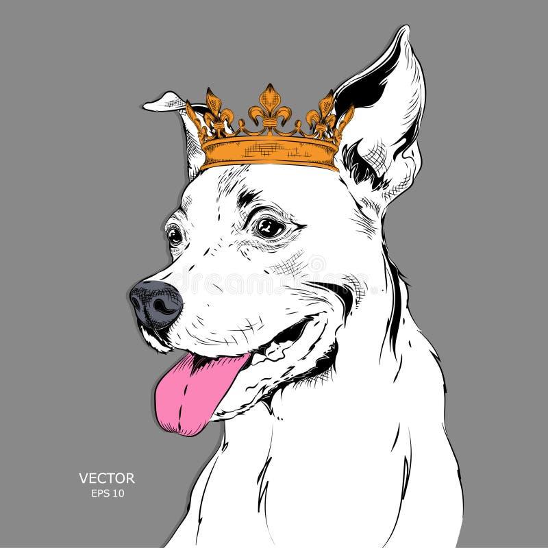 Entregue o retrato da imagem da tração do cão na coroa Uso para a cópia, cartazes, t-shirt Ilustração do vetor da tração da mão ilustração royalty free