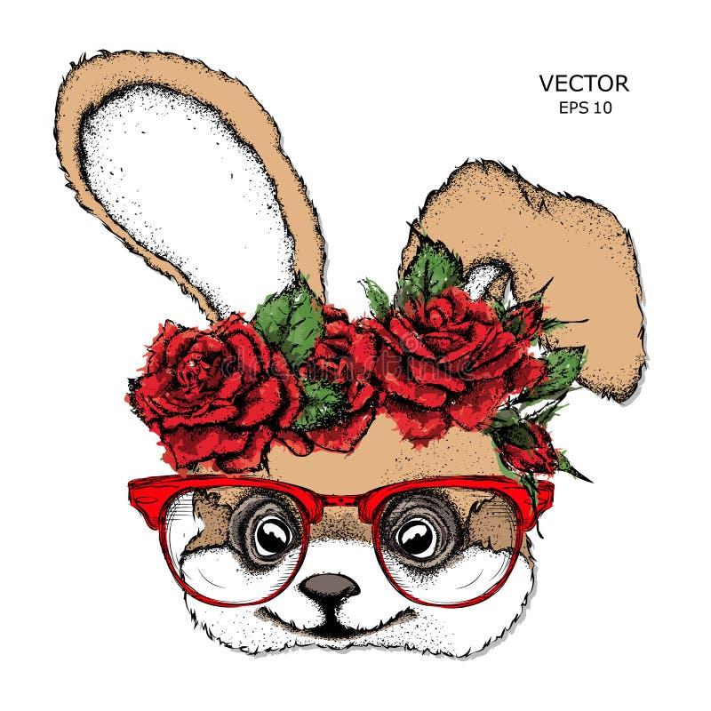 Entregue o retrato da tração do coelho que veste uma grinalda das flores Ilustração do vetor ilustração do vetor