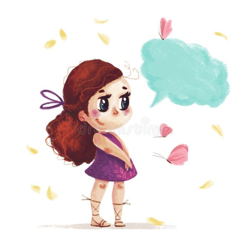 Entregue o retrato tirado da menina bonito com o cabelo marrom longo que está ao lado da borboleta do voo e da caixa da conversaç ilustração do vetor
