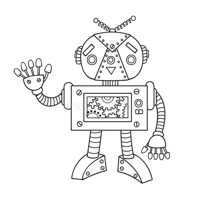Entregue o robô bonito tirado para o elemento do projeto e a página do livro para colorir para crianças e adultos Ilustração do v ilustração do vetor