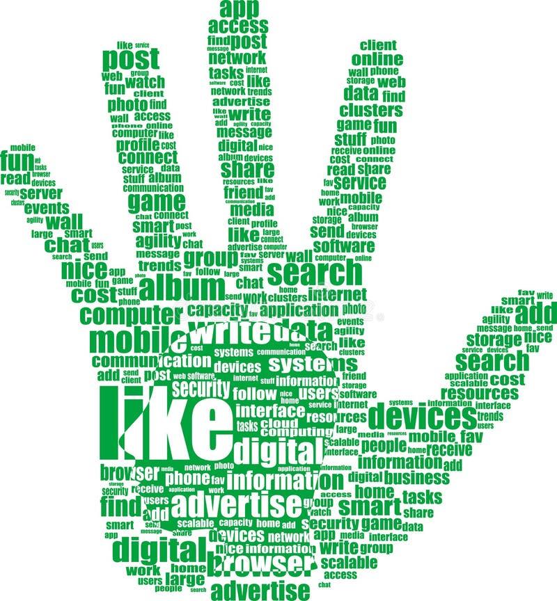 Entregue o símbolo, palavras-chaves do texto em temas sociais dos media ilustração do vetor