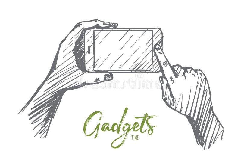 Entregue o smartphone tirado nas mãos humanas, rotulando ilustração royalty free