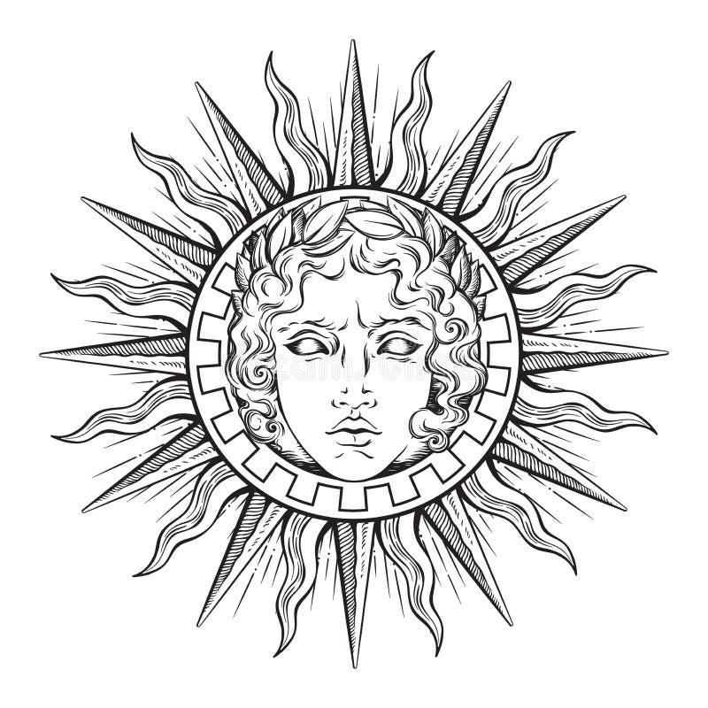 Entregue o sol antigo tirado do estilo com a cara do deus grego e romano Apollo Tatuagem ou ilustração instantânea do vetor do pr ilustração royalty free