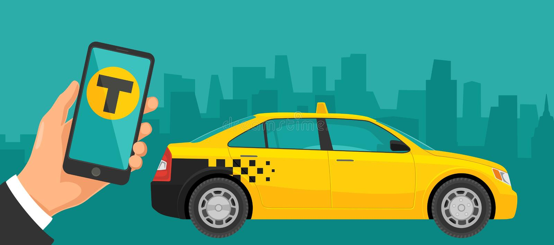 Entregue o telefone da posse com relação em um serviço do táxi do registro da tela ilustração stock